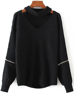 http://es.shein.com/Black-Choker-V-Neck-Zipper-Detail-Sweater-p-327081-cat-1734.html?aff_id=8741