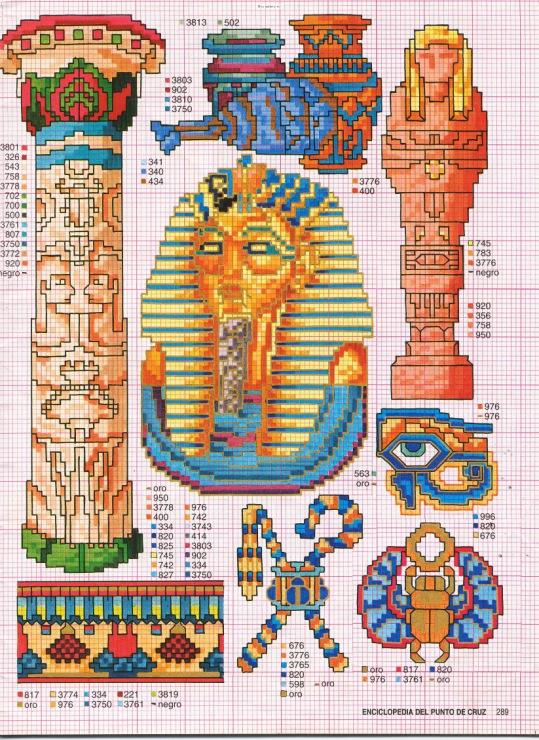pequeños motivos egipto en punto de cruz fácil