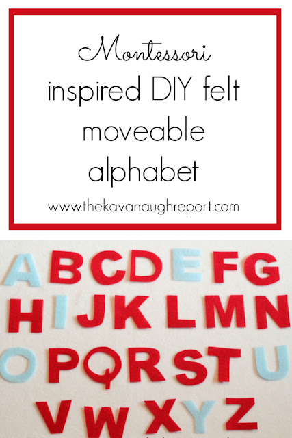 A Montessori inspired felt moveable alphabet. This DIY is an easy replacement for a traditional Montessori writing work.
