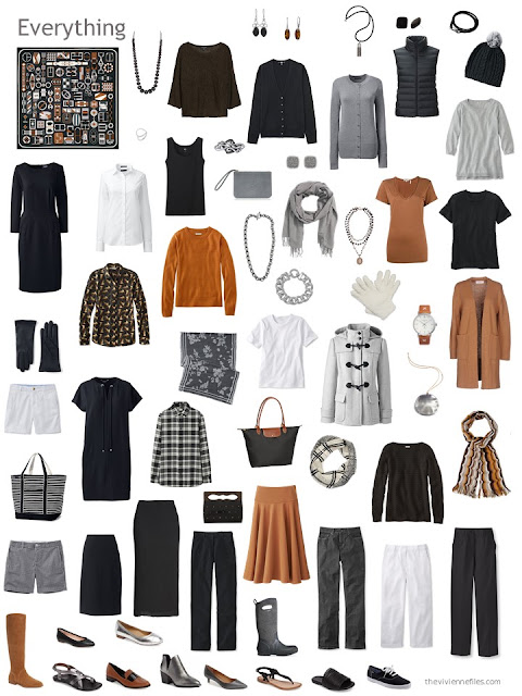 a 12-outfit wardrobe in black, grey, white and rust