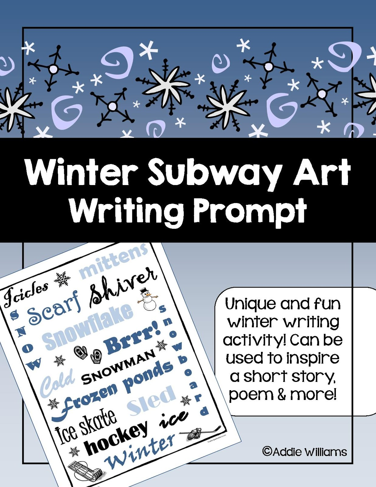 http://www.teacherspayteachers.com/Product/Winter-Writing-Prompt-Subway-Art-Idea-163355
