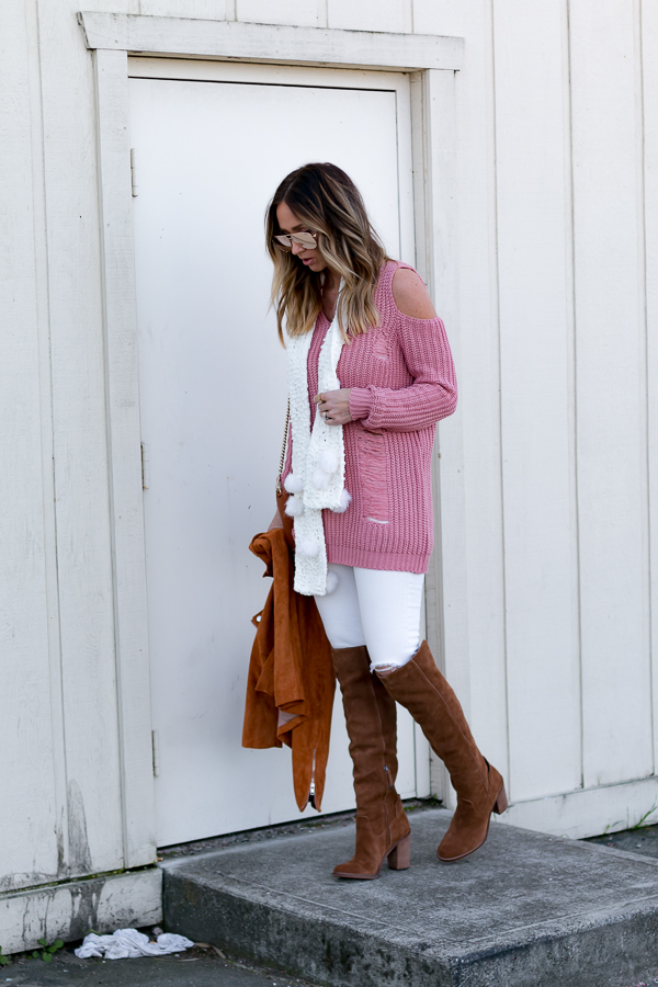 dusty pink distressed sweater dress