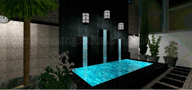 kolam mungil sederhana dengan batu kali kecil di sekelilingnya