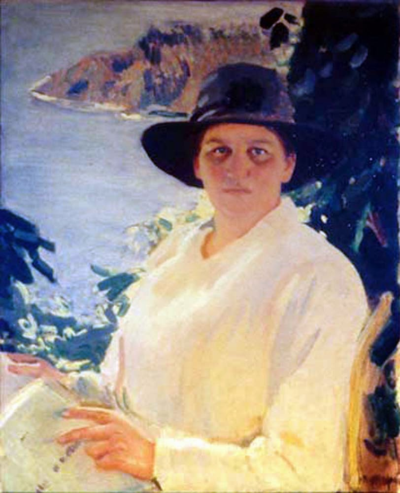 Charles Hopkinson, International Art Gallery, Portrait of Margaret curtis with Dana Island