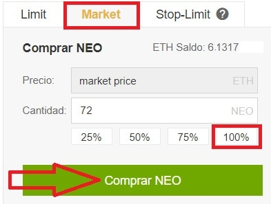 Comprar NEO en Binance sencillo