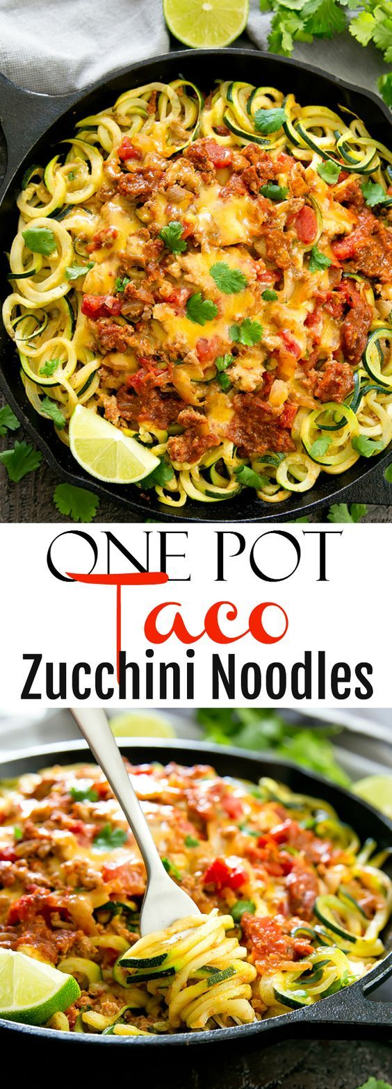 One Pot Taco Zucchini Noodles #MAINCOURSE #MEXICAN #HEALTHY