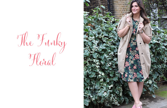 Parka and floral dress