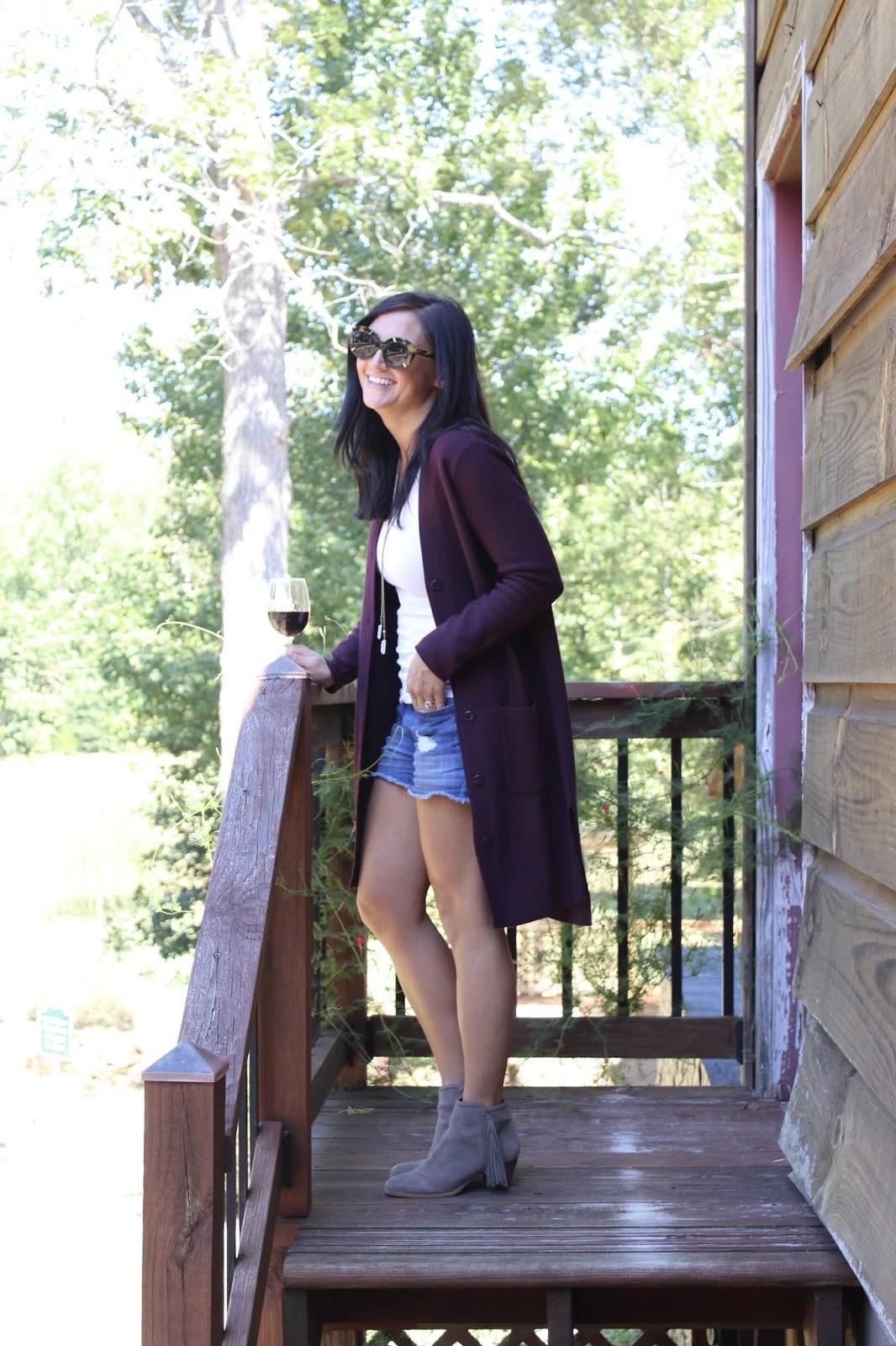 Daveste Vineyards, J Jill cardigan, tassel booties, fall layering