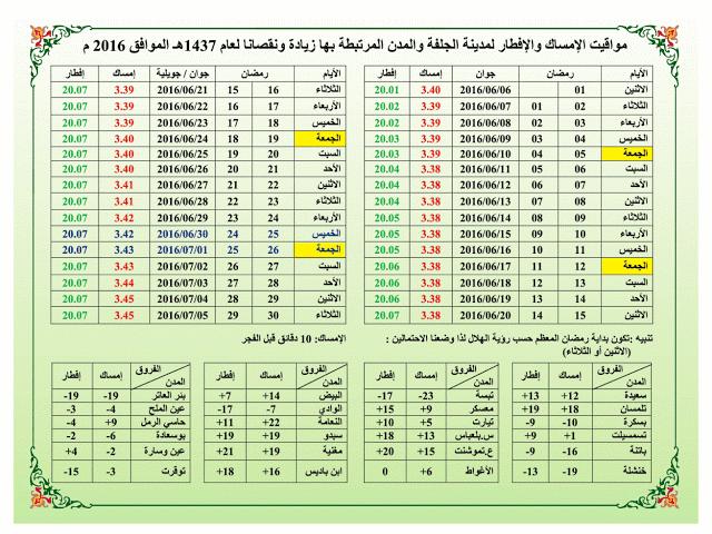 مواقيت الامساك و الافطار لرمضان 2016 لمدينة الجلفة و المدن المرتبطة بها وهي  :