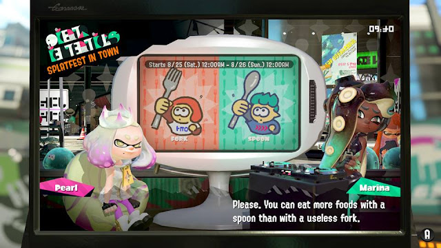 Splatoon 2 Splatfest fork vs. spoon utensil Marina eat more foods with a spoon