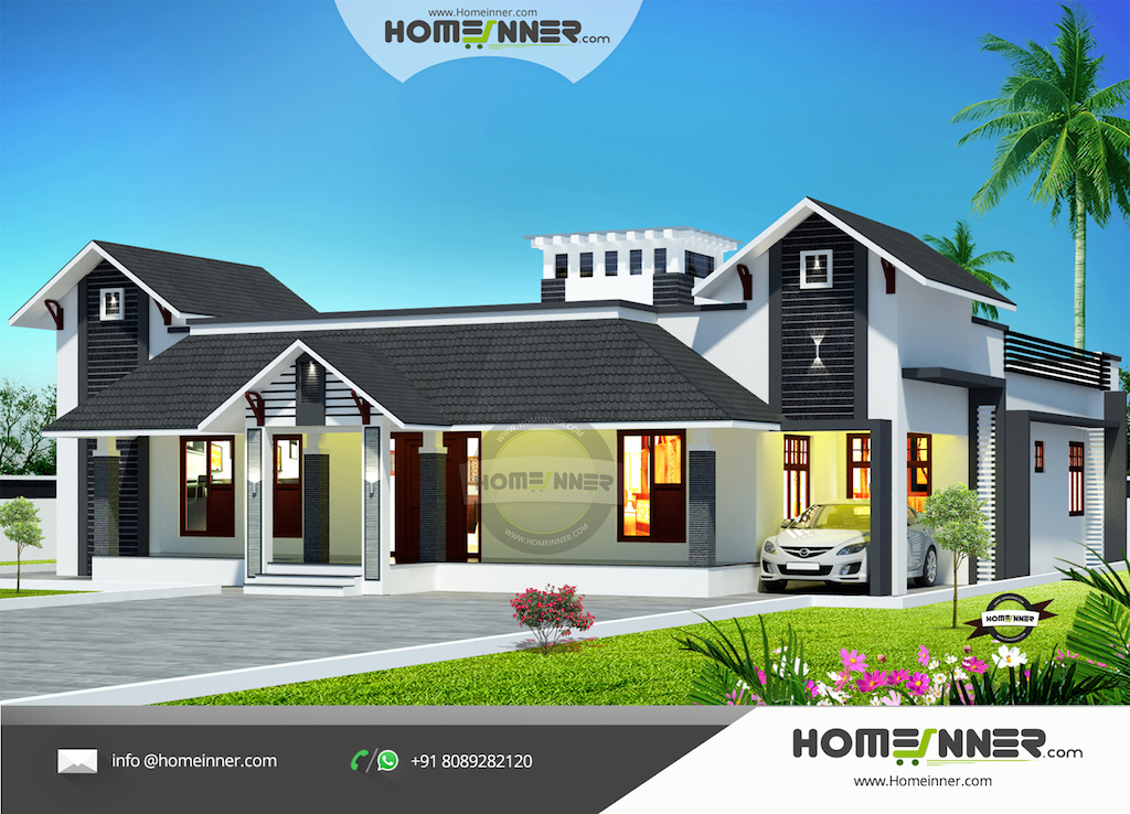 Good 3 Bedroom Tradition Kerala Home With Nadumuttam Part - 11: Modern Nalukettu Model Kerala Traditional House Plan Fusion Style. In  Nadumuttam ...