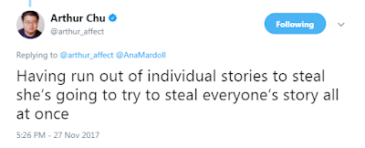 Arthur Chu‏Verified account  @arthur_affect  Having run out of individual stories to steal she's going to try to steal everyone's story all at once