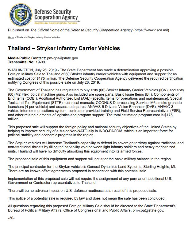 Держдеп США погодив продаж Таїланду БТР Stryker