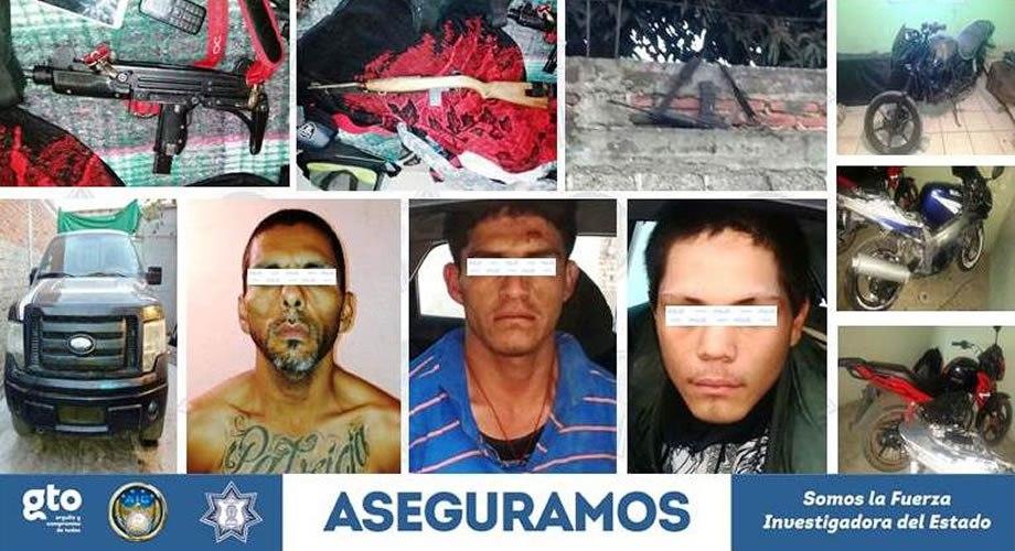 Capturan a tres presuntos sicarios y les aseguran poderoso arsenal y vehículos robados en Irapuato
