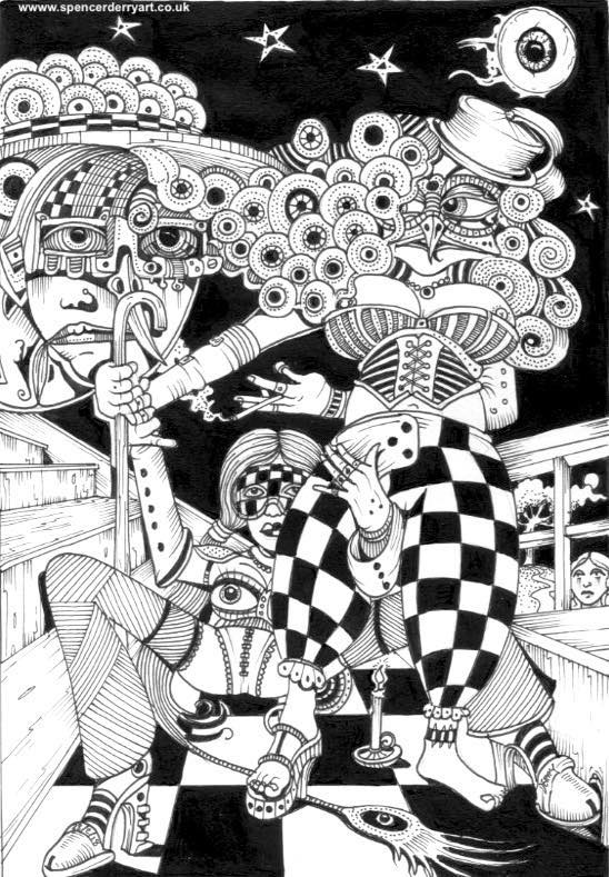 Two scantly clad females wearing face masks stand on a chequered floor in this imaginative drawing