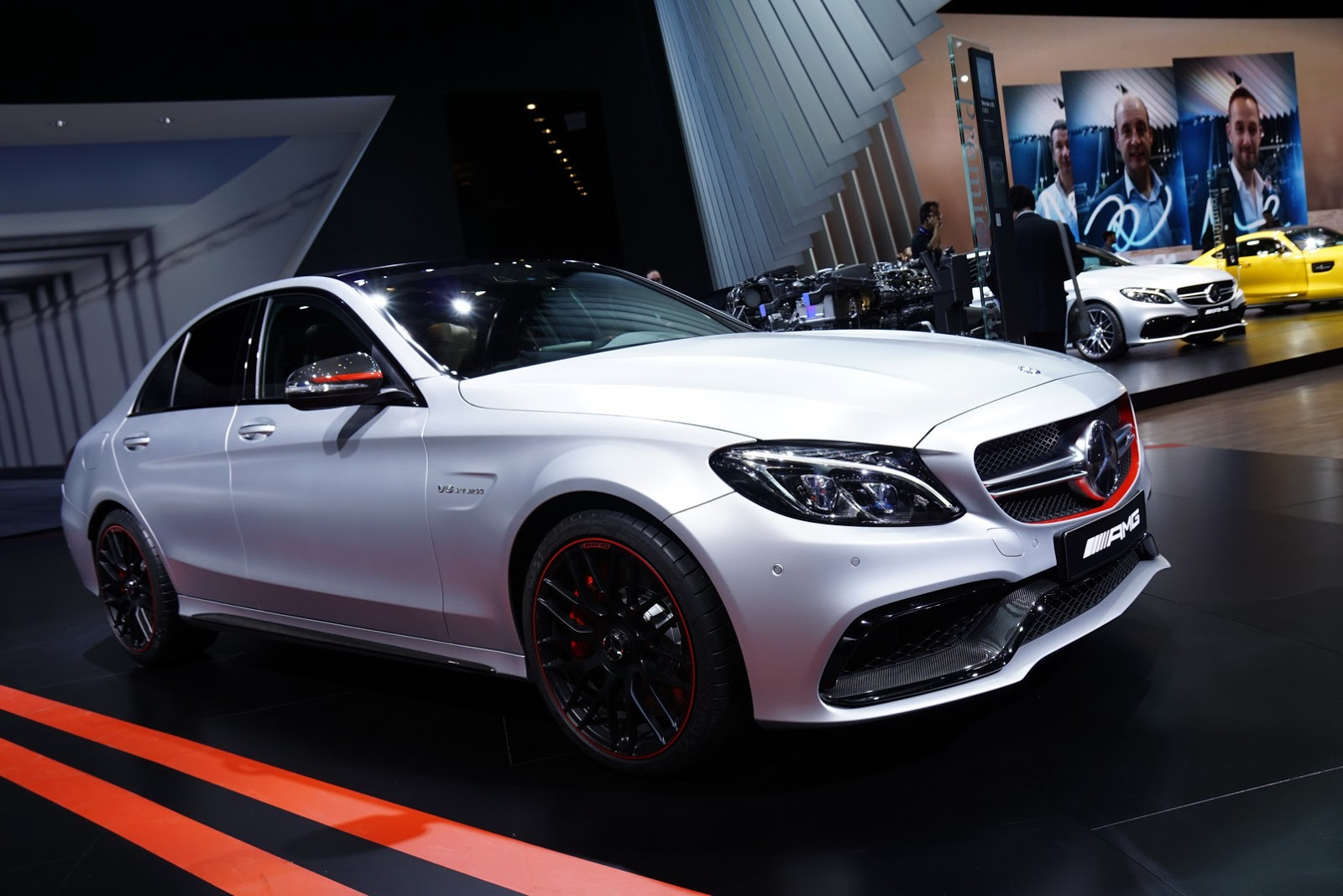 new mercedes amg c63 edition 1 shows its red lace in paris carscoops. Black Bedroom Furniture Sets. Home Design Ideas