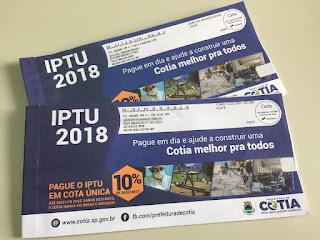 Cotia: Parcela do IPTU com vencimento para 20/09 poderá ser paga até o dia 28/09