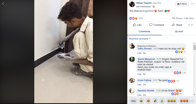 Pakistani painter who conquered the internet with his voice had the chance to present his talent