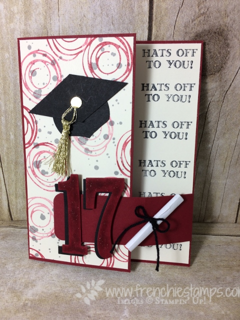 Graduation card, Big Buckle, B.Y.O.P., Large Number Framelits, Guy Greeting, Graduation Cap,  Stampin'Up!