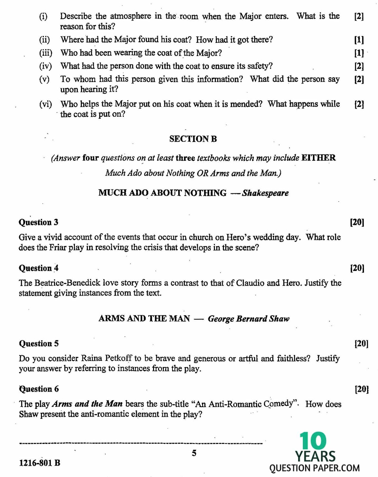 isc 2016 class 12th English literature question paper 2