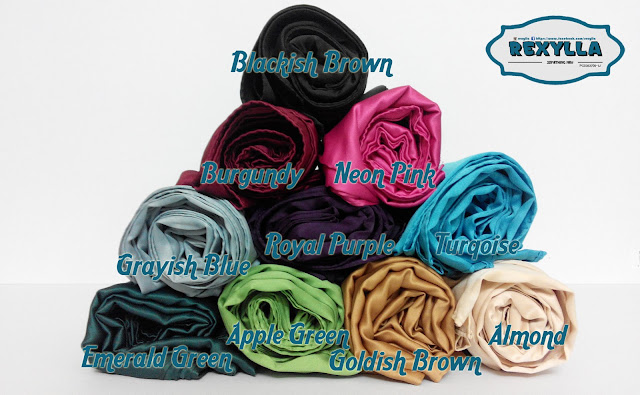 rexylla, tudung empat segi, satin silk, amethyst collection