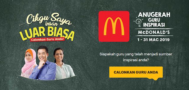 Ayuh Rakyat Malaysia Calonkan Guru Anda di Anugerah Guru Inspirasi McDonald's 2019
