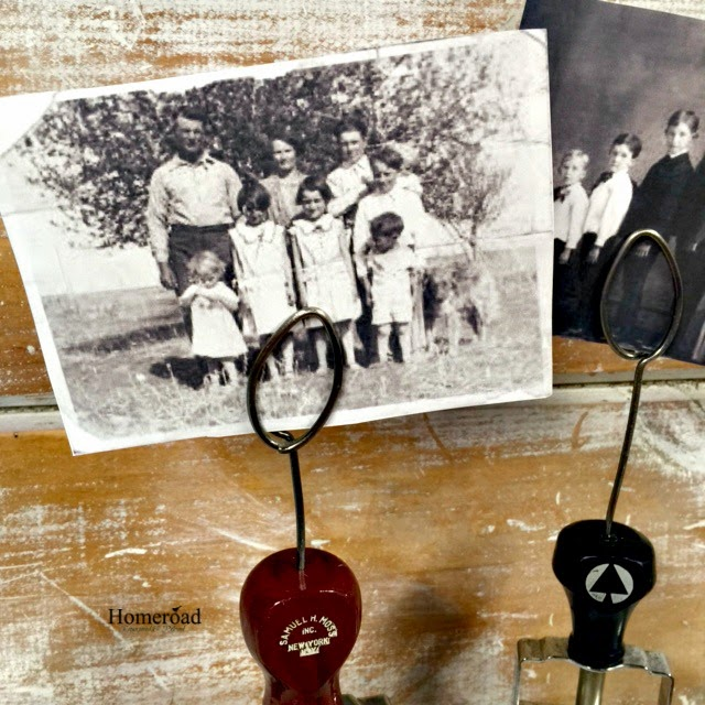 Vintage photo display using old stampers and wire www.homeroad.net