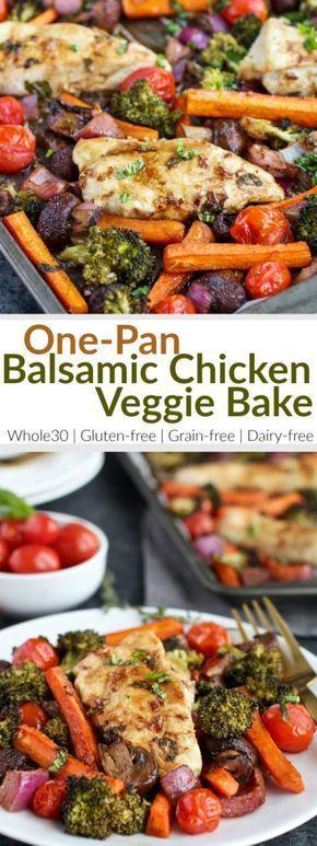 One Pan Balsamic Chicken Veggie Bake