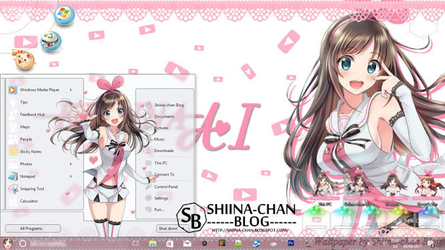 Windows 10 Ver. 1703 Theme Kizuna AI by Enji Riz