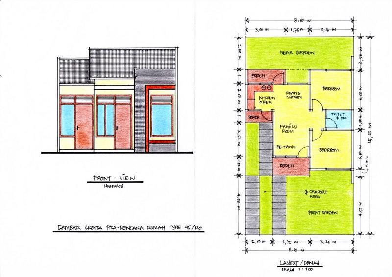 gambar denah rumah minimalis tipe 90 4