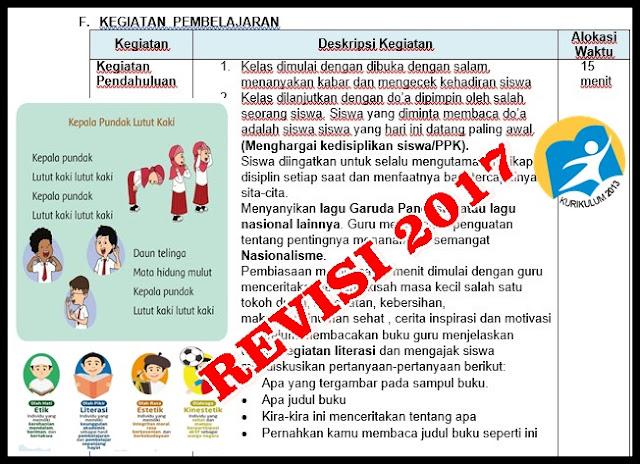 RPP Kelas 1 SD Kurikulum 2013 Revisi Tahun 2017 Integrasi PPK