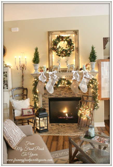 Neutral Christmas-Farmhouse-Christmas Mantel-From My Front Porch To Yours