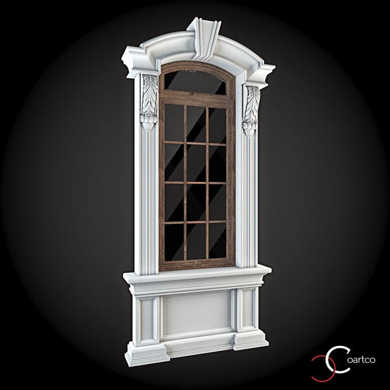 Ornamente Geamuri Exterior, fatade case cu profile decorative polistiren, profile fatada,  Model Cod: WIN-048