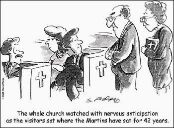church comic, church humor, Christian humor, church shopping, church hunting, visiting a new church