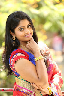 Actress Mounica Pictures in Saree at Tholi Kiranam Press Meet  0031