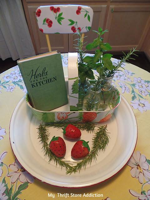Vintage book, herbs and thrift store basket centerpiece