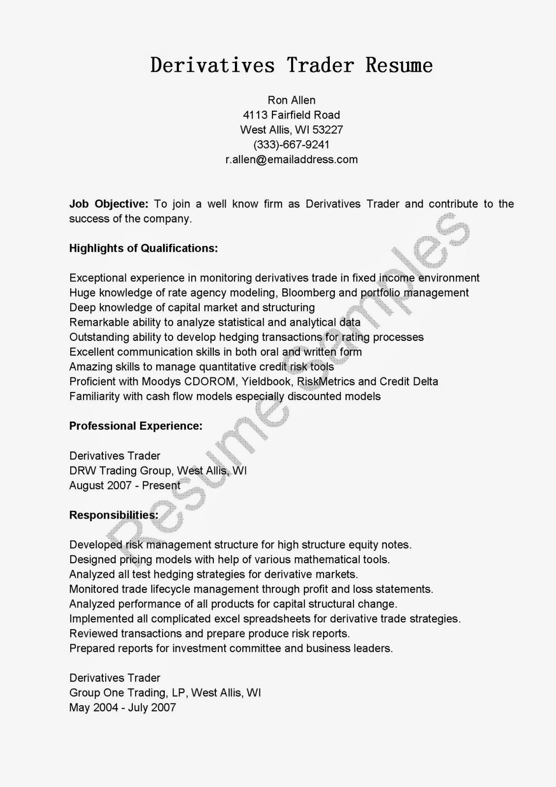 resume samples  derivatives trader resume sample