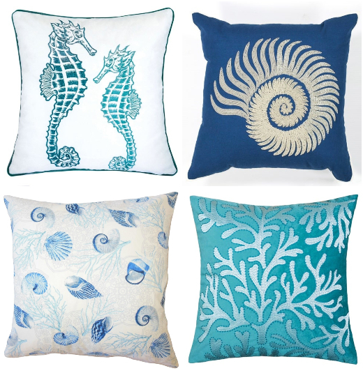 Blue Coastal Sea Life Shell Pillows