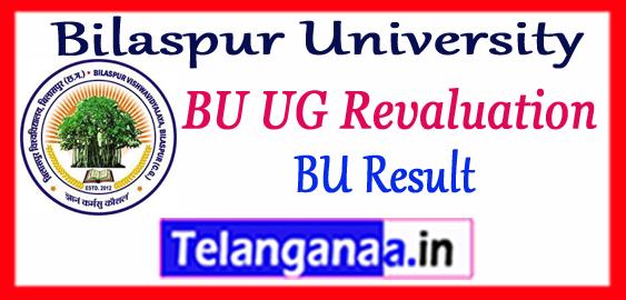 Bilaspur University PG UG Revaluation Part 1st 2nd 3rd Result 2017