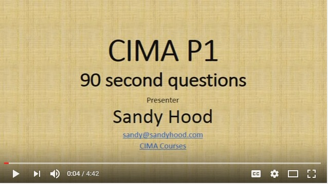 CIMA P1 OTQ exam tips for 90 second Questions