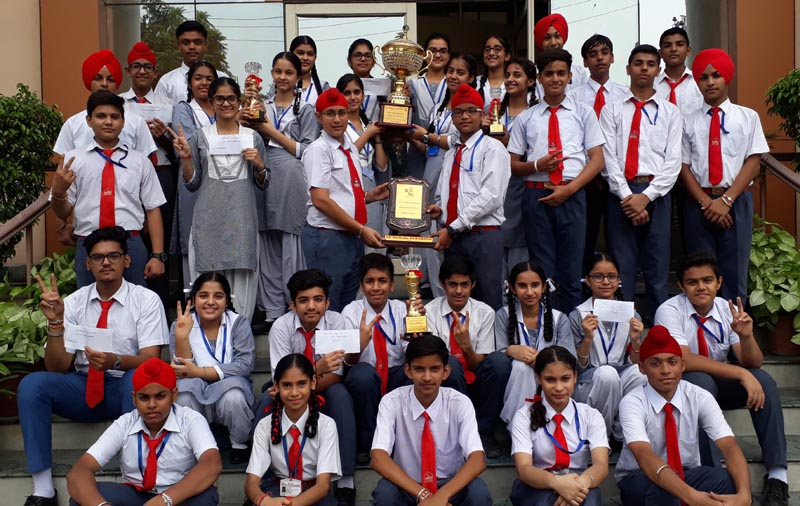 Students celebrating their success after winning Overall Trophy in Saawan Teej Fest 2017