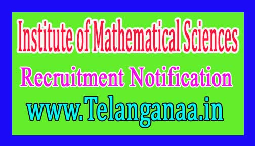 Institute of Mathematical Sciences – IMSC Recruitment Notification