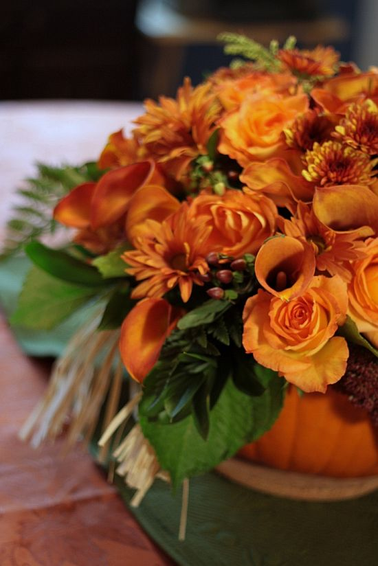 beautiful fall orange flower arrangement