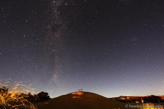 Stars in the night sky, 6-57pm, pictured from Middle Rd, Havelock North, on a night where aurora displays were visible elsewhere in New Zealand. Technical info: The camera was Canon EOS 1-D Mk IV with a 16mm lens. Exposure was 30 seconds, f2.8 at 400ASA. (As far as I can remember, this was the first time in my 30 year career that I've set out to photograph the stars. Still learning) photograph