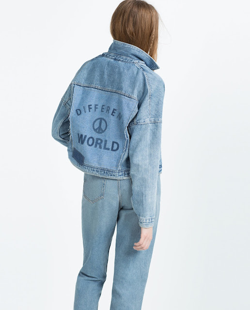 i am denim jacket zara, denim jacket logo back,