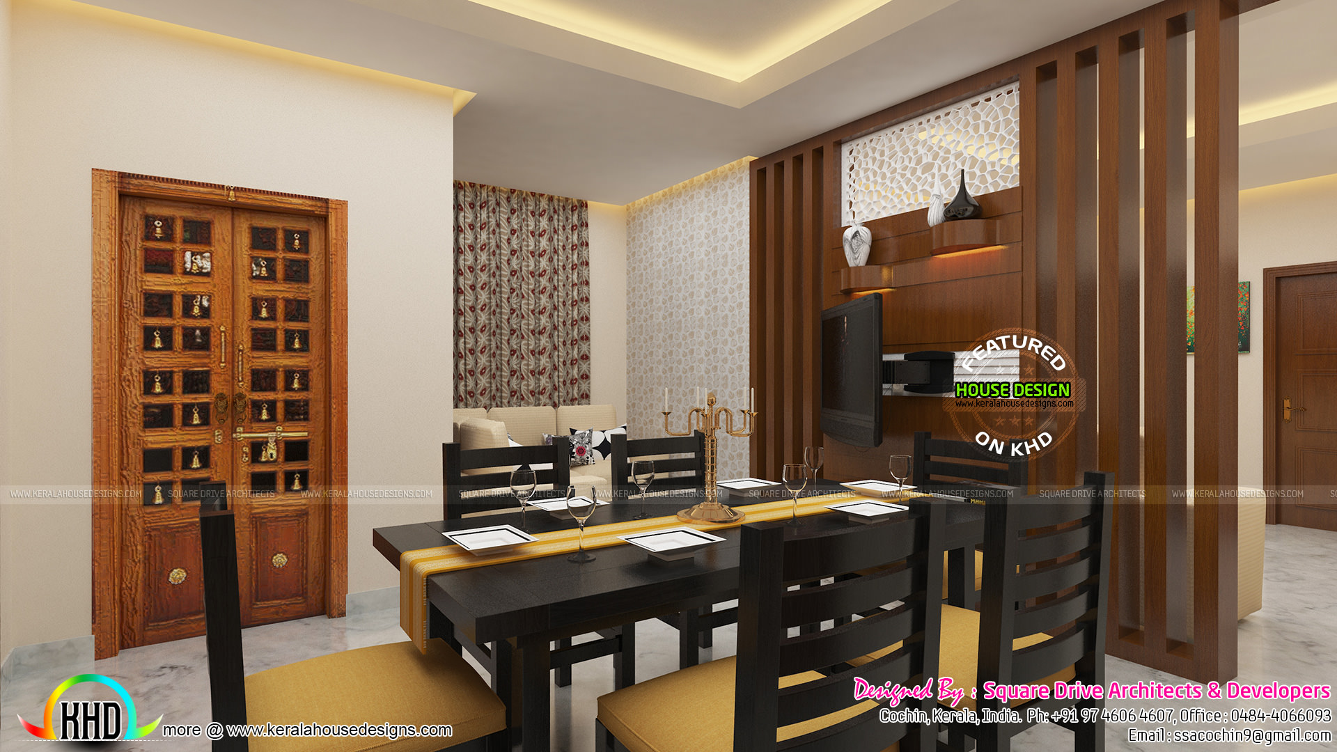 Awesome interior of dining area kerala home design and for Home designers in my area
