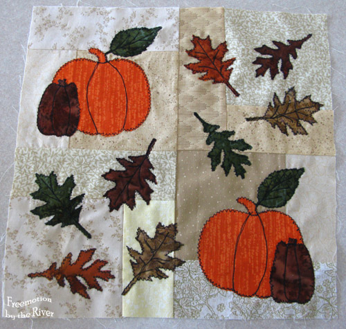 12 inch block with pumpkins and autumn leaves