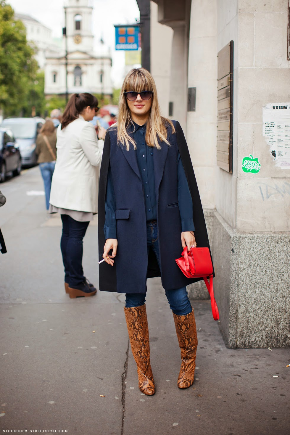 blue-cape-brown-knee-boots-red-bag-outfit