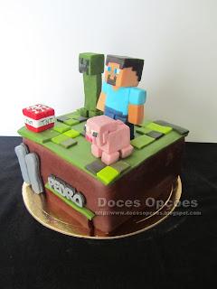 bolo Minecraft doces opções