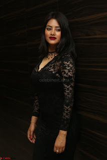 Actress Monica in spicy transparent Black Top at O Pilla Nee Valla Movie Audio Launch Feb 2017 052.JPG